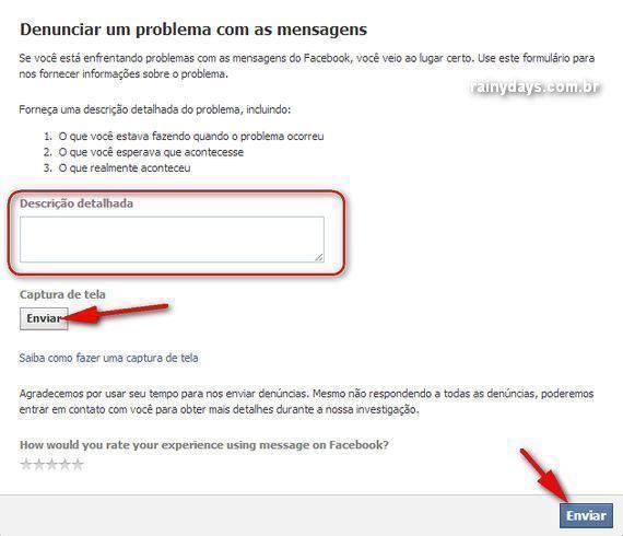 Problemas com Mensagens do Facebook