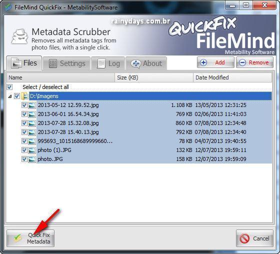 Remover informações pessoais de fotos digitais Windows