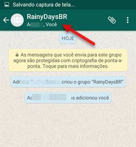 toque no nome do grupo WhatsApp