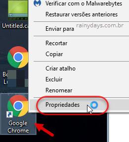 Atalho Chrome Propriedades