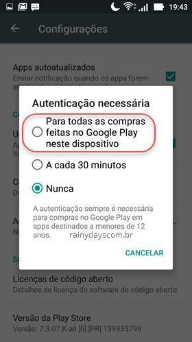 Bloquear todas as compras da Google Play com senha