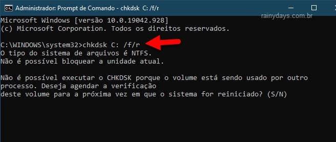 Como verificar erro no HD do Windows pelo prompt de comando