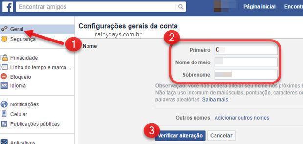 configurações Geral Nome Facebook