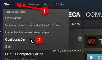 Configurações Steam cliente