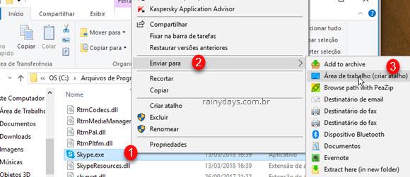 Criar atalho do Skype na Área de Trabalho