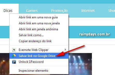 Enviar URL e fotos de sites para Google Drive 3