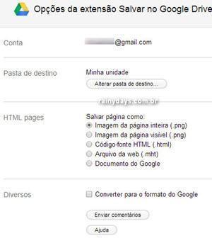 Enviar URL e fotos de sites para Google Drive 4