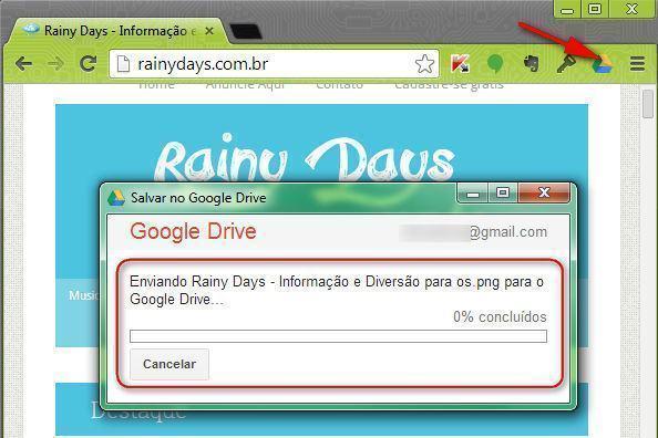 Enviar URL e Fotos de Sites para Google Drive