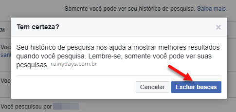 Como excluir histórico de buscas do Facebook