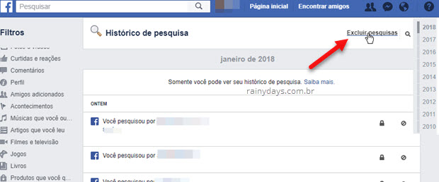 Excluir pesquisas do Facebook