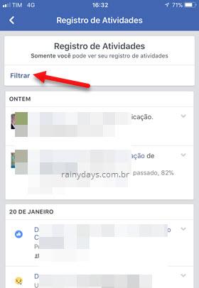 Filtrar Registro de Atividades app Facebook