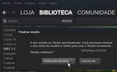 Finalizar sessão Cliente Steam