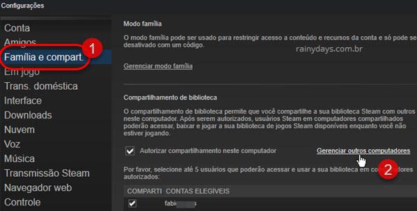 Gerenciar outros computadores compartilhamento Steam