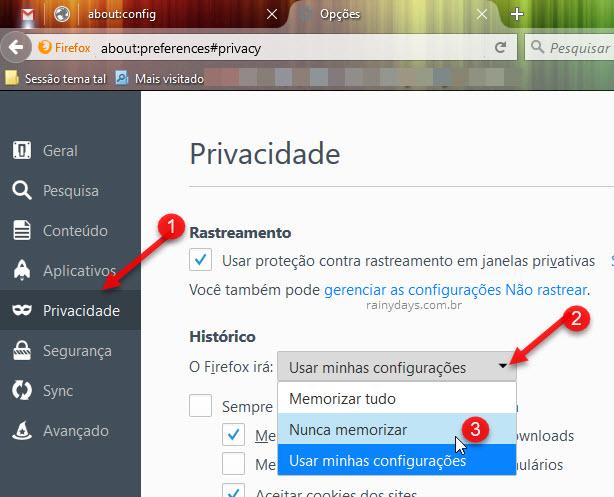 Como iniciar Firefox sempre em modo anônimo