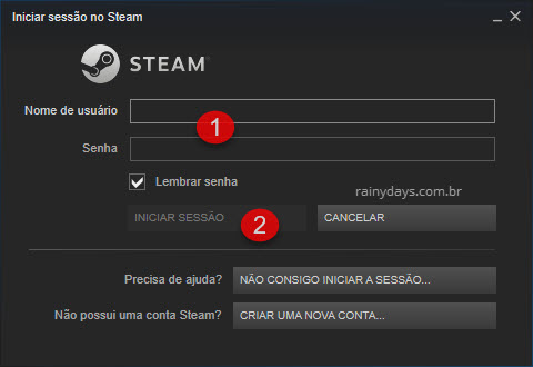 Login cliente Steam Iniciar sessão