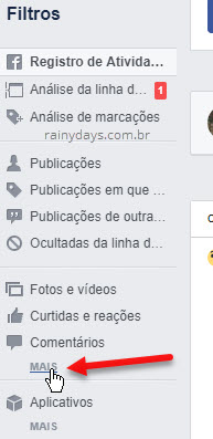 Mais filtro menu lateral Facebook