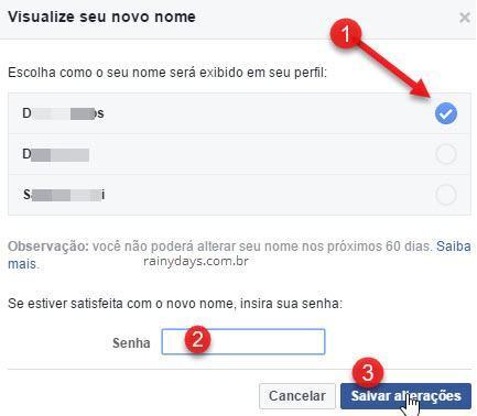 mudar nome de usuário no Facebook