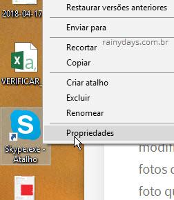 Propriedades Atalho Skype Área de Trabalho Windows