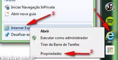 Propriedades internet explorer atalho