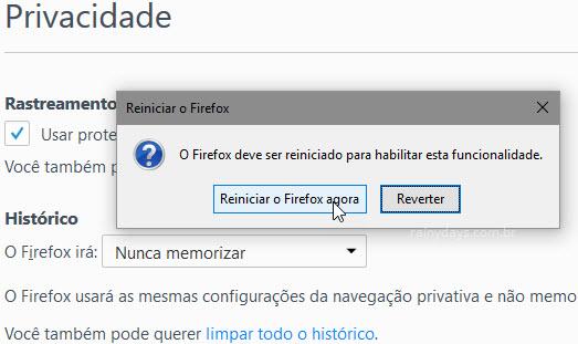 Reiniciar o Firefox agora