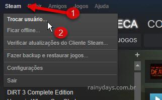 Trocar usuário Cliente Steam