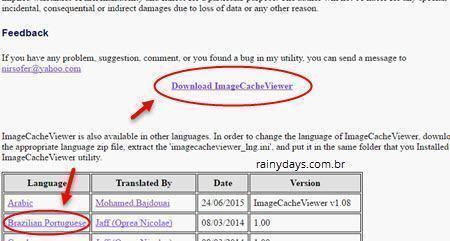 Ver imagens salvas no cache de todos navegadores