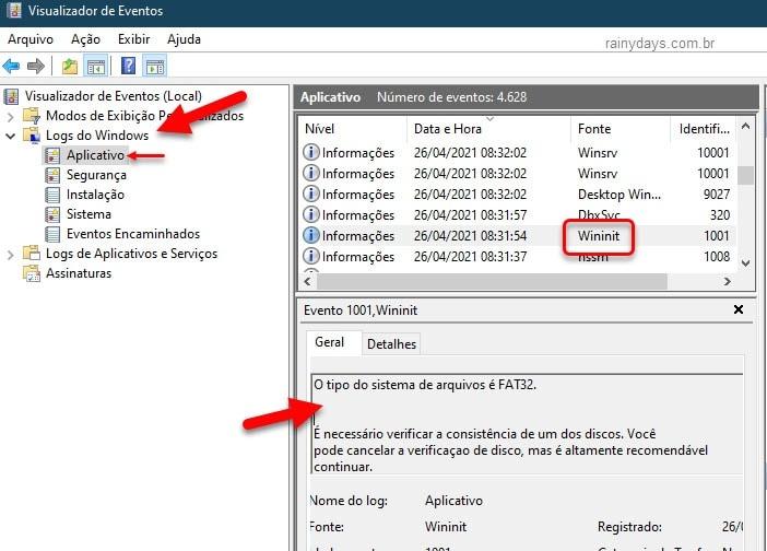 Verificar log do CHKDSK Wininit visualizador de eventos Windows