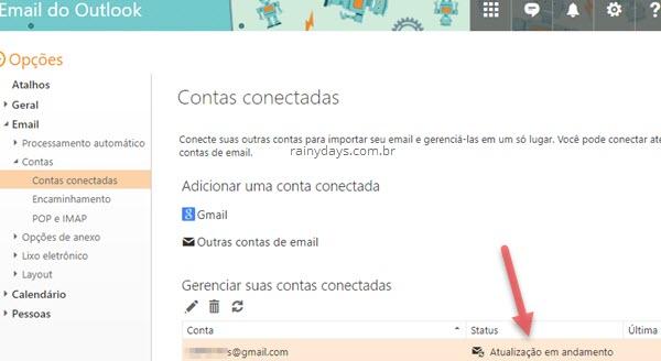Atualização em andamento importar emails para Outlook