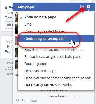 bata-papo Facebook Configurações Avançadas