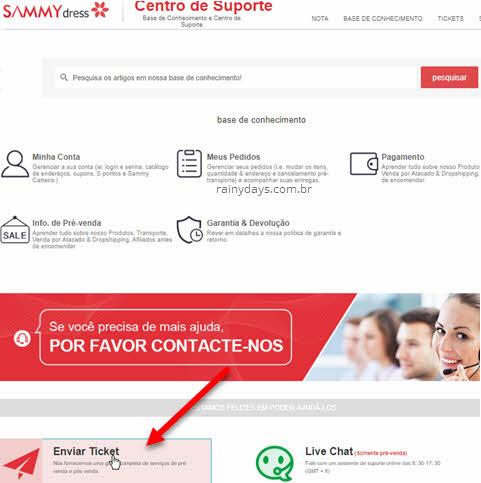 Como excluir conta da SammyDress