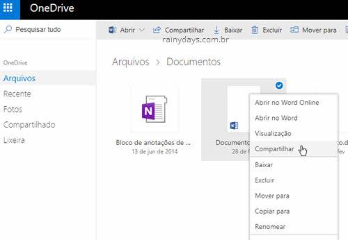 Como compartilhar arquivos do OneDrive em modo leitura