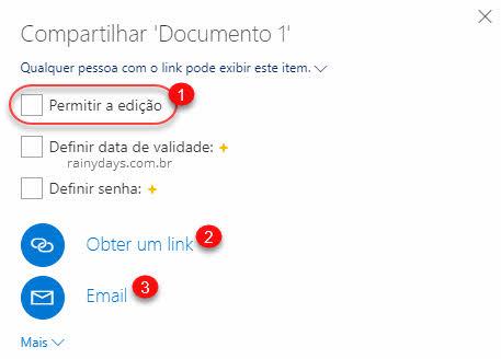 compartilhar documento do OneDrive bloquear edição