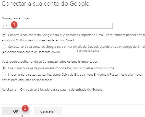 Conectar conta do Google no Outlook web
