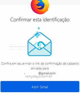 Confirmar identificação no email para entrar conta Firefox Sync