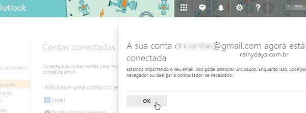 conta conectada no Outlook web