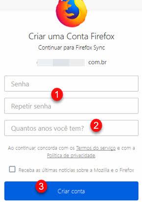 Criar uma conta Firefox sincronizar no computador