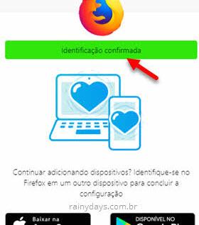 Identificação confirmada Firefox Sync conta