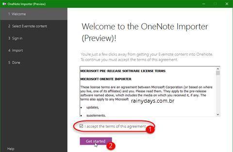 importar dados do Evernote para OneNote