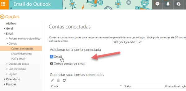 Como importar Gmail e Yahoo Mail para Outlook.com