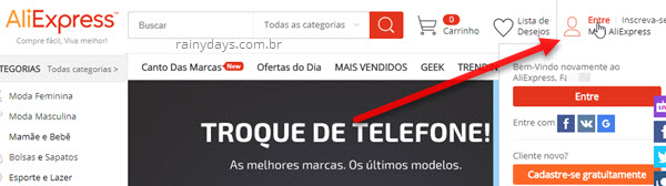 Login Entre na AliExpress