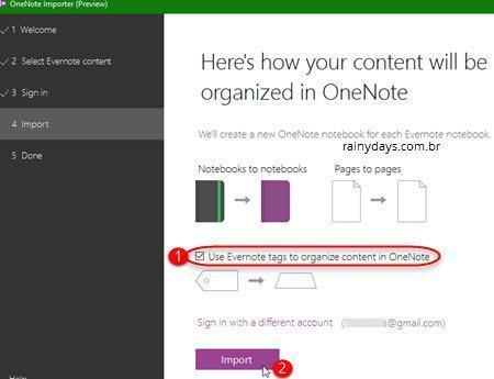 Migrar dados do Evernote para OneNote Microsoft
