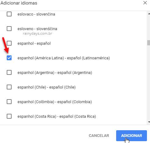 Adicionar idiomas no Chrome espanhol