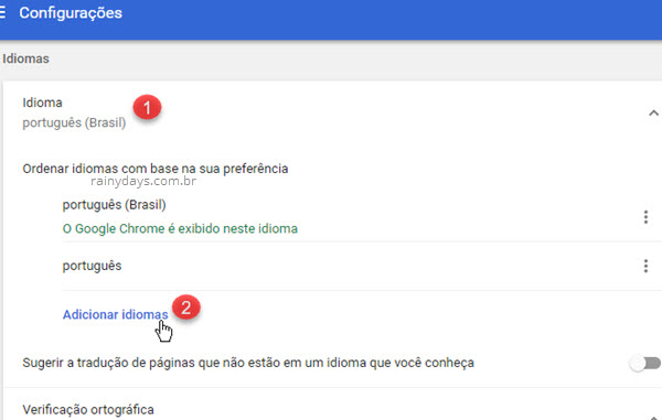 Adicionar idiomas no Google Chrome