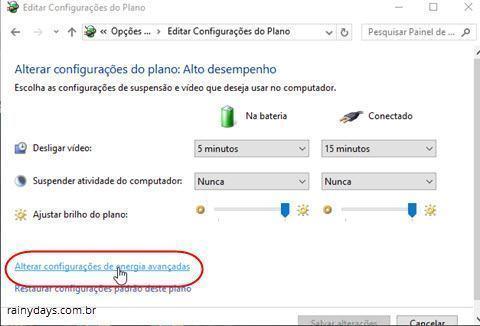 alterar configurações de energia avançadas do Windows