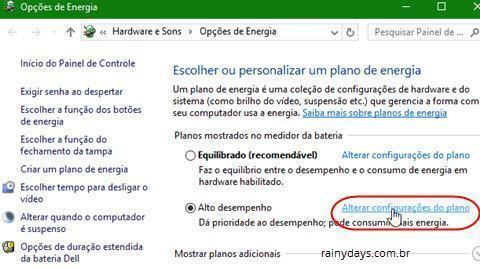Alterar configurações do plano Windows