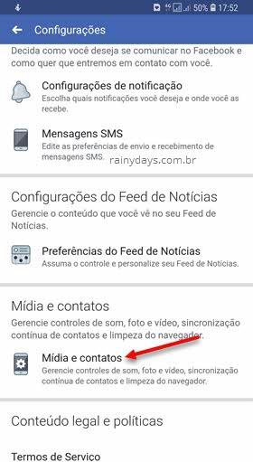 config Mídia e contatos Facebook app