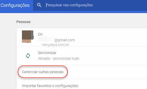 configurações Chrome gerenciar outras pessoas