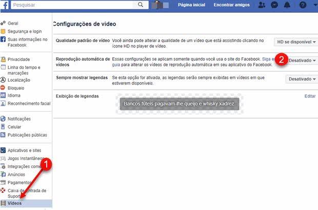 Desativar reprodução automática de vídeos no Facebook
