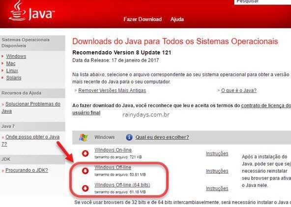 Instalador completo do Java offline