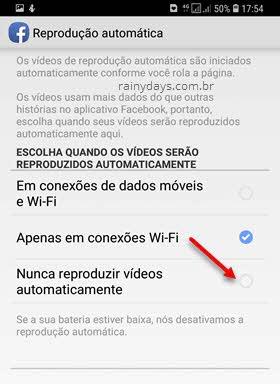 Nunca reproduzir vídeos automaticamente app Facebook